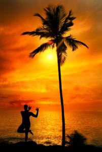 Yoga silhouette lord krishna pose
